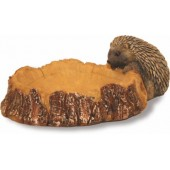 Log Birdbath With Hedgehog